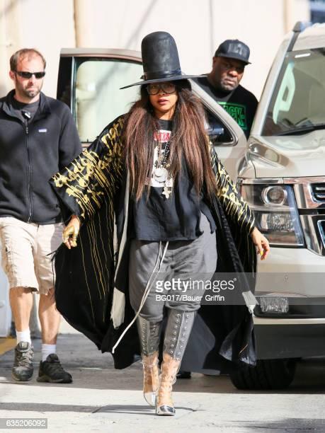 Erykah Badu is seen arriving at 'Jimmy Kimmel Live' on February 13 2017 in Los Angeles California
