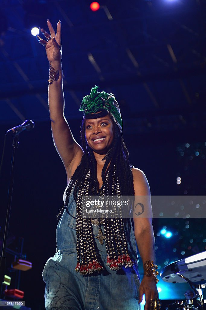 Erykah Badu performs onstage at the 10th Annual Jazz in the Gardens Celebrating 10 Years of Great Music at Sun Life Stadium on March 22 2015 in Miami...