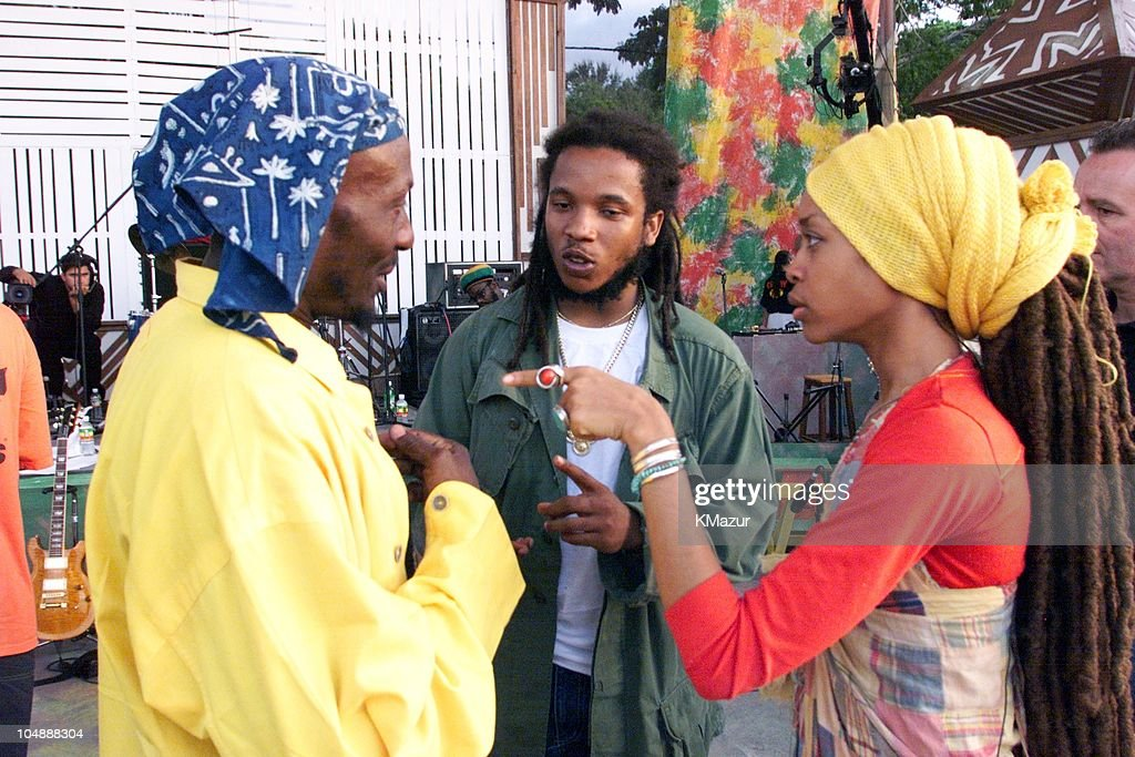 Erykah Badu Ziggy Marley Jimmy Cliff during One LoveThe Bob Marley Tribute in Oracabessa Beach Jamaica