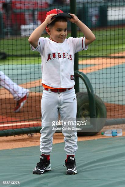 Erza Pujols son of Albert Pujols of the Los Angeles Angels of Anaheim before the game against the Toronto Blue Jays at Angel Stadium of Anaheim on...