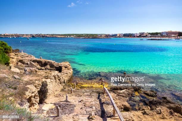 Es Pujols, Formentera coastline idyllic beach in Balearic Islands, Spain