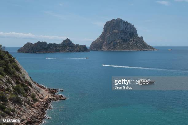 Es Vedra island stands close to the island of Ibiza on August 11 2017 near Sant Josep Spain Ibiza is a popular tourist destination