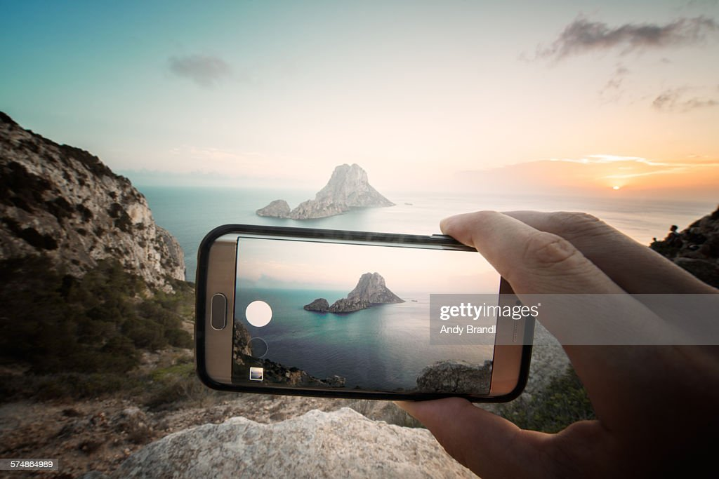 Es Vedra on Mobile : Stock Photo