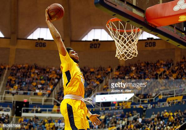 Esa Ahmad of the West Virginia Mountaineers dunks the ball against the Texas Tech Red Raiders at the WVU Coliseum on February 18 2017 in Morgantown...