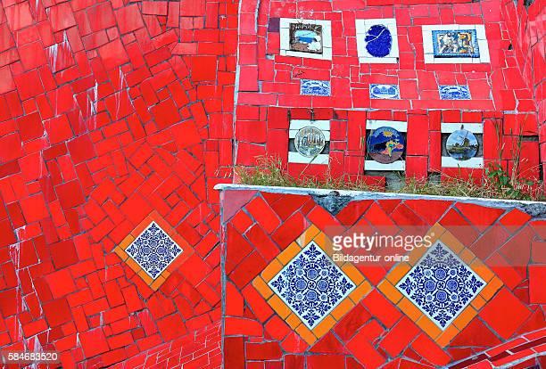 Esaderia do Selaron tiles stairs from Santa Teresa to district of Lapa by artist Jorge Selaron Rio de Janeiro Brazil