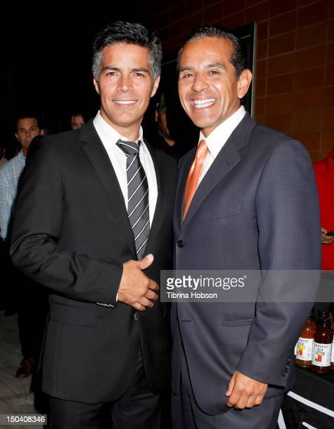 Esai Morales and Antonio Villaraigosa attend the 6th annual Boyle Heights Youth Center fundraiser at Boyle Heights Tech Youth Center on August 16...