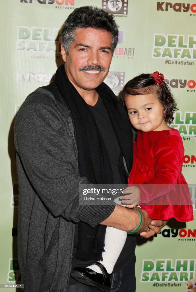 <a gi-track='captionPersonalityLinkClicked' href=/galleries/search?phrase=Esai+Morales&family=editorial&specificpeople=208672 ng-click='$event.stopPropagation()'>Esai Morales</a> (L) attends the Delhi Safari Los Angeles premiere with his daughter Mariana Oliveira Morales, at Pacific Theatre at The Grove on December 3, 2012 in Los Angeles, California.