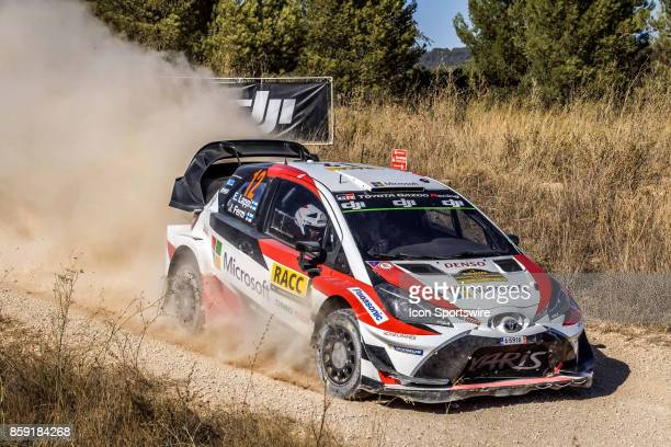 Esapekka Lappi and codriver Janne Ferm of Toyota Gazoo Racing pictured during the Caseres Stage of the Rally de Espana round of the 2017 FIA World...