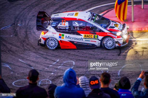 Esapekka Lappi and codriver Janne Ferm of Toyota Gazoo Racing early morning run on the Riudecanyes Stage of the Rally de Espana round of the 2017 FIA...