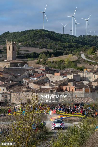 Esapekka Lappi and codriver Janne Ferm of Toyota Gazoo Racing pass thru the village of Conesa during the Savalla Stage of the Rally de Espana round...