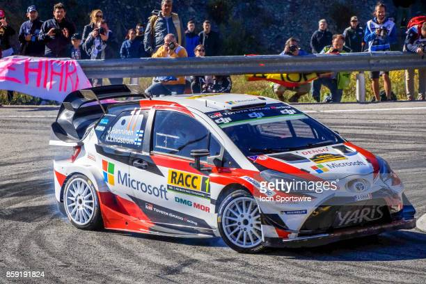 Esapekka Lappi and codriver Janne Ferm of Toyota Gazoo Racing round the famous Riudecanyes roundabouts of the Rally de Espana round of the 2017 FIA...