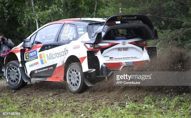 Esapekka Lappi of Finland and his codriver compatriot Janne Färm steer their Toyota Yaris WRC during stage Pihlajakoski of the Neste Rally Finland in...
