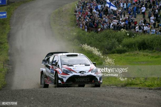 Esapekka Lappi of Finland and his codriver Janne Färm of Finland steer their Toyota Yaris WRC during Ouninpohja special stage of the Neste Rally...