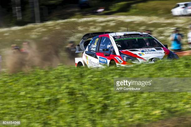 Esapekka Lappi of Finland and his codriver Janne Färm of Finland steer their Toyota Yaris WRC during the Oittila special stage of the Neste Rally...