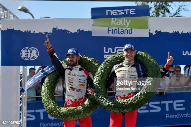 Esapekka Lappi of Finland and Janne Ferm of Finland celebrate their victory during Day Three of the WRC Finland on July 30 2017 in Jyvaskyla Finland