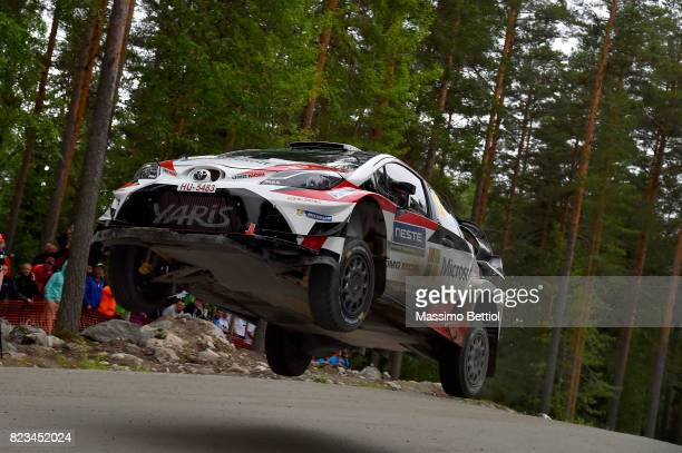 Esapekka Lappi of Finland and Janne Ferm of Finland compete in their Toyota Gazoo Racing WRT Toyota Yaris WRC during the Shakedown of the WRC Finland...