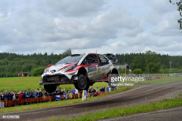 Esapekka Lappi of Finland and Janne Ferm of Finland compete in their Toyota Gazoo Racing WRT Toyota Yaris WRC during Day Two of the WRC Finland on...