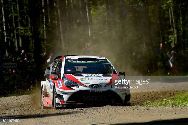 Esapekka Lappi of Finland and Janne Ferm of Finland compete in their Toyota Gazoo Racing WRT Toyota Yaris WRC during Day Three of the WRC Finland on...