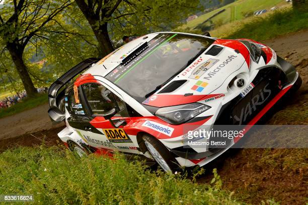 Esapekka Lappi of Finland and Janne Ferm of Finland compete in their Toyota Gazoo Racing WRT Toyota Yaris WRC during the Shakedown of the WRC Germany...