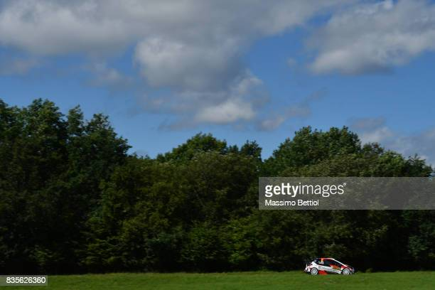Esapekka Lappi of Finland and Janne Ferm of Finland compete in their Toyota Gazoo Racing WRT Toyota Yaris WRC during Day Two of the WRC Germany on...