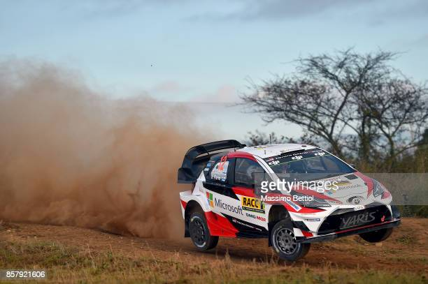 Esapekka Lappi of Finland and Janne Ferm of Finland compete in their Toyota Gazoo Racing WRT Toyota Yaris WRC during the Shakedown of the WRC Spain...