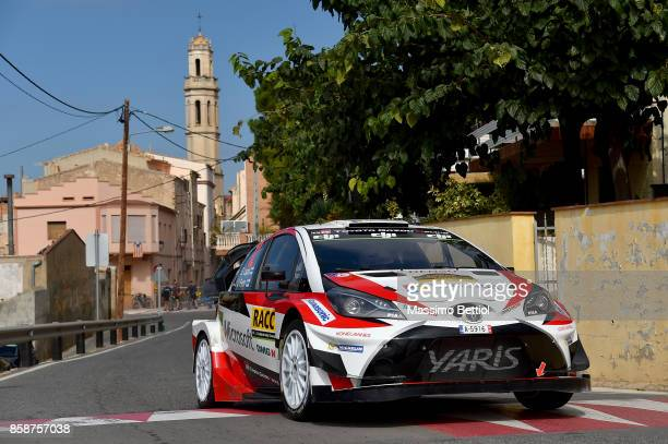 Esapekka Lappi of Finland and Janne Ferm of Finland compete in their Toyota Gazoo Racing WRT Toyota Yaris WRC during Day Two of the WRC Spain on...