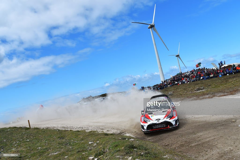 Esapekka Lappi of Finland and Lasse Ferm of Finland compete in their Toyota Gazoo Racing WRT Toyota Yaris WRC during Day One of the WRC Portugal on May 19, 2017 in Faro, Portugal.