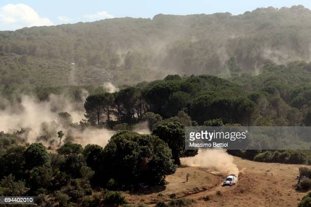 Esapekka Lappi of Finland and Lasse Ferm of Finland compete in their Toyota Gazoo Racing WRT Toyota Yaris WRC during Day One of the WRC Italy on June...