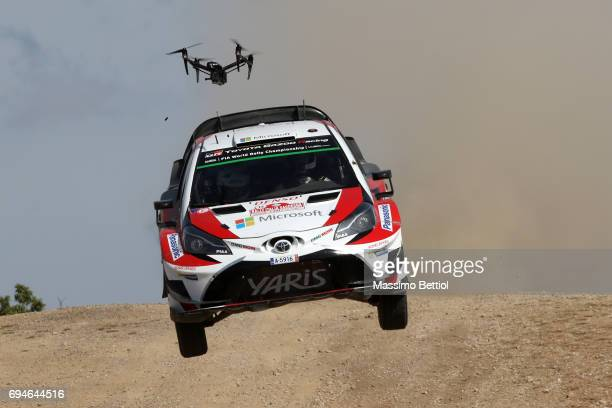 Esapekka Lappi of Finland and Lasse Ferm of Finland compete in their Toyota Gazoo Racing WRT Toyota Yaris WRC during Day Two of the WRC Italy on June...