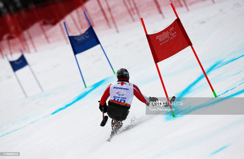Esat Hilmi Bayindirli of Turkey competes in the Men's Giant Slalom Sitting during day eight of the Sochi 2014 Paralympic Winter Games at Rosa Khutor Alpine Center on March 15, 2014 in Sochi, Russia.