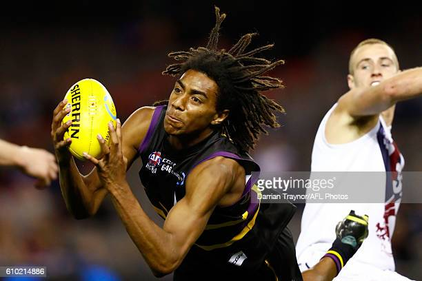 Esava Ratugolea of the Bushrangers marks the ball during the TAC Cup Grand Final match between the Murray Bushrangers and the Sandringham Dragons at...