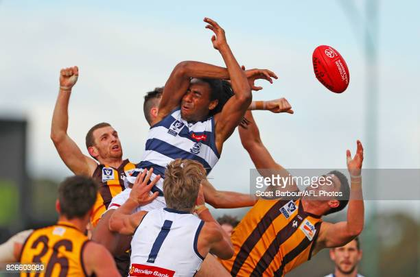 Esava Ratugolea of the Geelong Cats competes for the ball during the round 16 VFL match between the Box Hill Hawks and Geelong Cats at Box Hill City...