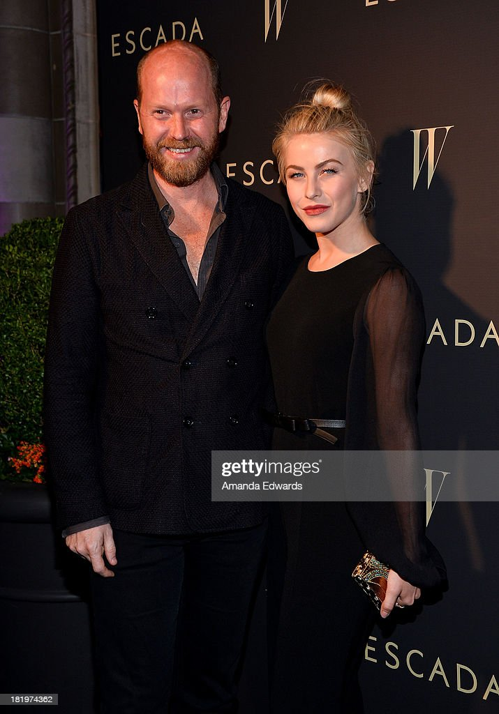 Escada Fashion Director Daniel Wingate (L) and actress Julianne Hough arrive at the Escada and W Magazine shopping event benefiting the Cool Earth Organization at Escada Boutique on September 26, 2013 in Beverly Hills, California.