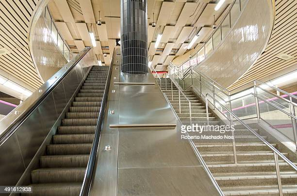 STATION TORONTO ONTARIO CANADA Escalator Don Mills Station having stairs running parallel by its side There is a huge cylindrical pillar between the...