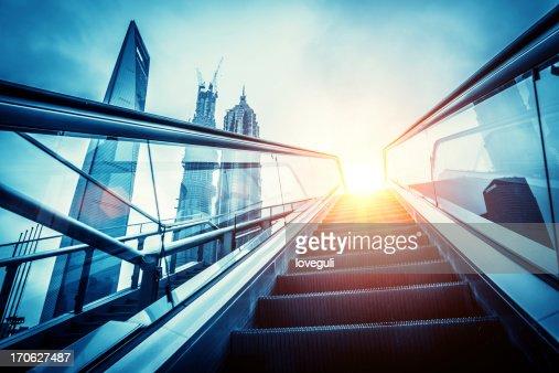 escalator to modern city