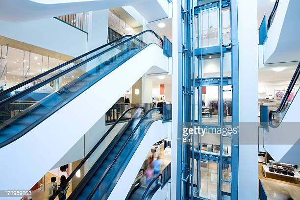 Escalators and elevator in shopping center