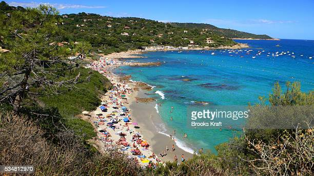 L'Escalet Beach on a crowded August day in Ramatuelle France