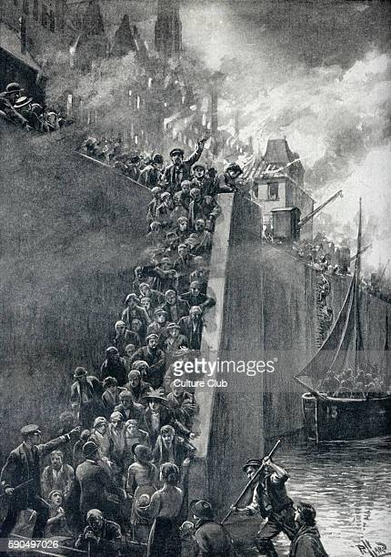 Escape from Antwerp During the German bombardment of the Belgian city panic stricken residents flocked to the quayside of the River Scheldt where...