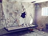 escape from prison cell. 3D creative concept