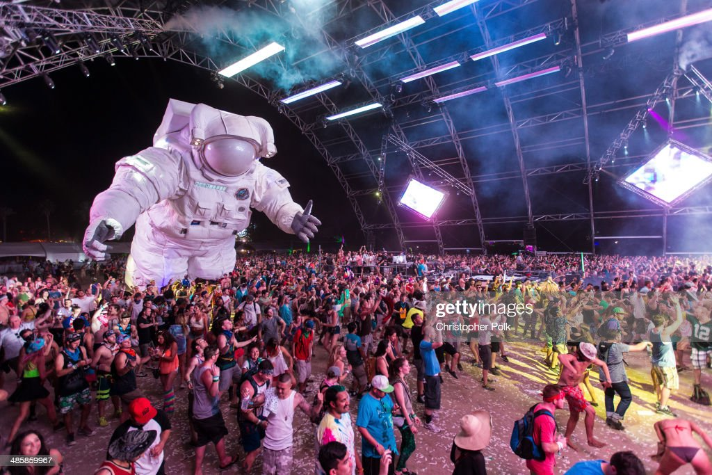 Escape Velocity art installation by Poetic Kinetics is seen during day 3 of the 2014 Coachella Valley Music & Arts Festival at the Empire Polo Club on April 20, 2014 in Indio, California.