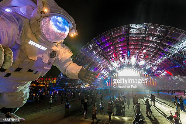 Escape Velocity art installation by Poetic Kinetics is seen during day 3 of the 2014 Coachella Valley Music Arts Festival at the Empire Polo Club on...