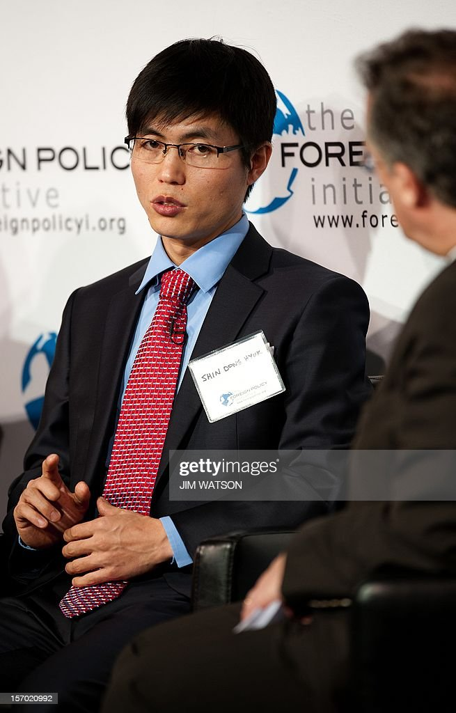 Escaped prisoner from North Korean Internment Camp 14 Shin Dong-Hyuk speaks during a conversation on 'America's Role in Promoting Democracy and Human Rights ' at the 2012 Foreign Policy Initiative Forum in Washington on November 27, 2012. AFP PHOTO/Jim WATSON