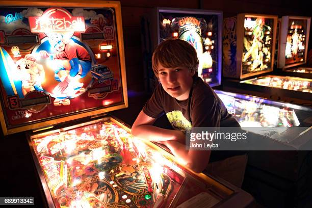 Escher Lefkoff a 13yearold Longmont poses with Skateball pinball machine on April 17 2017 at his home in Longmont The 13yearold is now the new...
