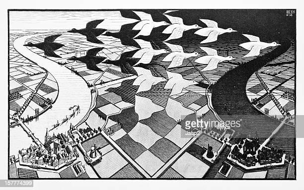 MC エッシャーのウッドカットプリント「昼と夜」(1938 年)