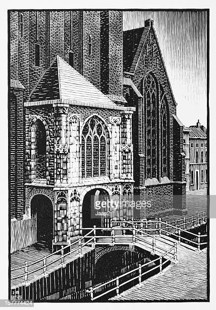 MC Escher de grabado en madera impresión de entrada Oude Kerk, Delft (1939