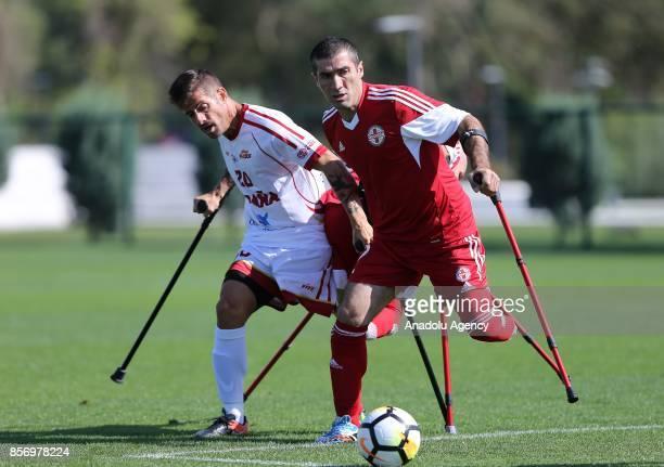 Escobar Francisco of Spain in action against Pipa Gulardi of Georgia during a European Amputee Football Federation European Championship match...