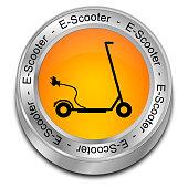 orange e-scooter button - 3D illustration