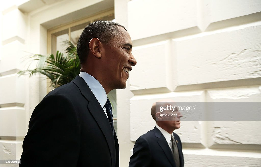 Escorted by House Sergeant at Arm Paul Irving (R), U.S. President <a gi-track='captionPersonalityLinkClicked' href=/galleries/search?phrase=Barack+Obama&family=editorial&specificpeople=203260 ng-click='$event.stopPropagation()'>Barack Obama</a> (L) arrives at the U.S. Capitol for a meeting with the House Republican Conference March 13, 2013 on Capitol Hill in Washington, DC. President traveled to the Hill to meet with Republican House members in a closed meeting.