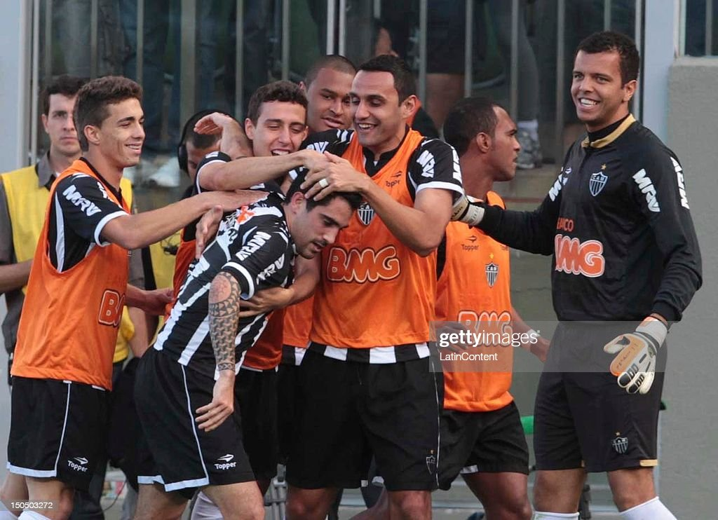Escudero of Atletico MG celebrates a goal during a match between Botafogo and Atletico MG as part ot the Brazilian Championship at Independence Stadium on August 19, 2012 in Belo Horizonte, Brazil.