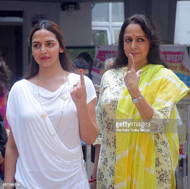 Esha Deol and Hema Malini after casting their vote in Mumbai